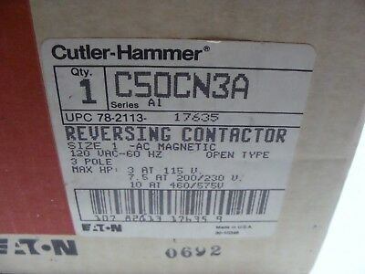 Cutler Hammer Old Stock NEW Size 1 Reversing Contactor C50CN3A Ser A1 120V Coil