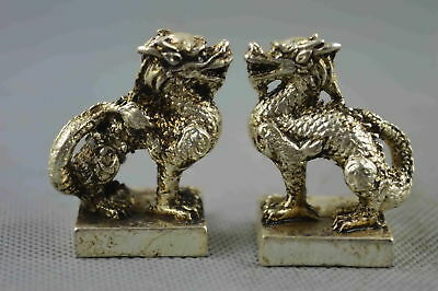 Collectable Handwork Decor Miao Silver Carve Myth Dragon Exorcism Pair Statue