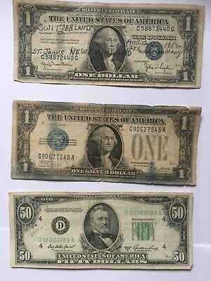 1928, 1935D(travel bill)  1 $ Silver Certificates and a 1950 A 50$ US Bill