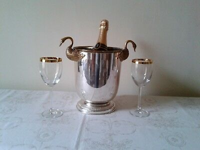 French Vintage Art Deco Wine Champagne Ice Bucket With Swan Handles 1.24Kg