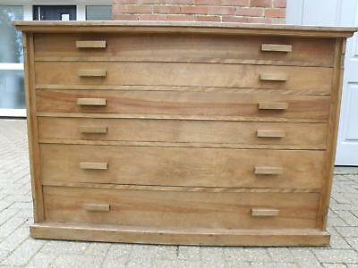 Large Solid Wood Vintage Plan Map Architects Art Draughtsman 6 Drawers Chest