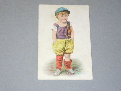 OLD Victorian TRADE or tobacco CARD Young Girl or Boy SMOKING PIPE lithograph