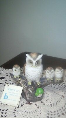 "4.25"" T Vintage Hand Crafted Porcelain Mom Owl with 3 Owlets on Branch Figurine"