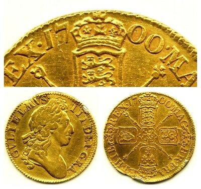 1700 KING WILLIAM III 3RD FULL 22CT GOLD GUINEA COIN BRITISH MILLED ANTIQUE 8.4g