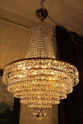 Antique RARE BIG Austrian Real Swarovski Crystal Chandelier Light 1940's 16 in,.
