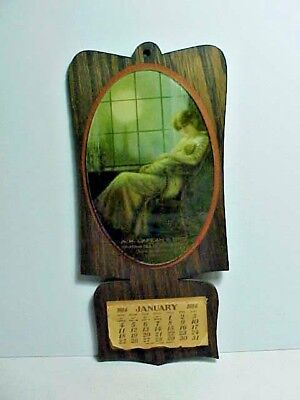 Vintage Calendar - Lafean & Bro York PA Full 1914 Wood & Glass Mother & Baby