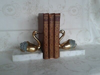 Pair Of French Vintage Art Deco Book Ends - Swans On White/grey Marble