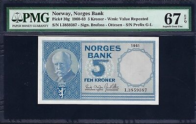 Norway 1961 P-30g PMG Superb Gem UNC 67 EPQ 5 Kroner