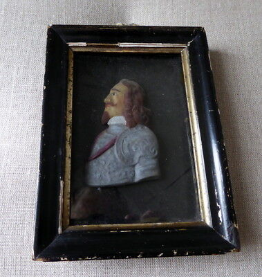Antique Wax Portrait Of King Charles 1