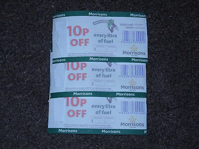 3x Morrisons fuel voucher - 10p off every litre - worth up to £30