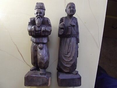 Vintage Asian hand carved wood Chinese man & woman couple figurine