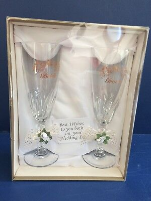 NEW IN BOX ~ Bride and Groom Wedding Wine Toasting Glasses