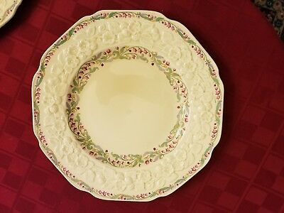 Crown Ducal Dinner Plates in Gainsborough, Pink, Blue&Yellow Flowers, Pair