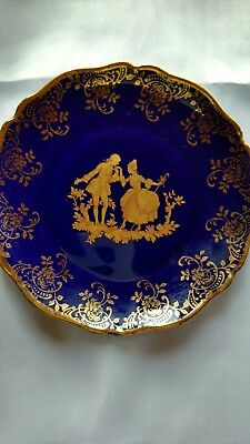 Limoges 5 inch cobalt blue and gold plate dish mini