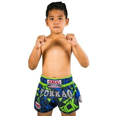 KIDS YOKKAO CARBONFIT BLUE/GREEN SICK THAI BOXING SHORTS (XS / Age 8-11) - UK