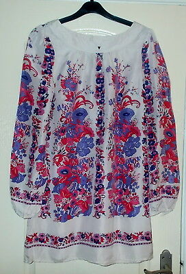 Vintage 1970's Silk Tunic Top Mini Dress Floral Sz 12