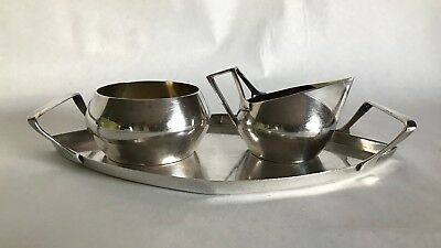 Mid-Century Art Krupp Berndorf Silver Plate Tray Set In The Manner of Gio Ponti