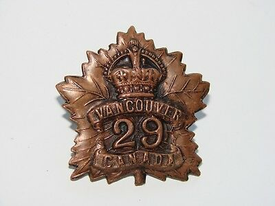 Canada WW1 CEF Cap Badge 29th Battalion maker marked JACOBY BROS