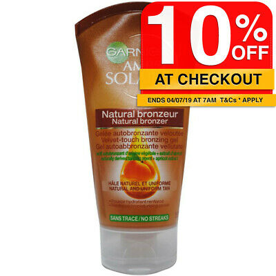 Garnier 150ml Ambre Solaire Natural Bronzer Velvet Touch Gel Self Tan/Tanning