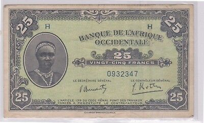 (N11-10) 1942 French West Africa 25 Franks bank note (10J)