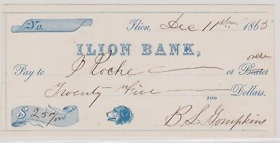 (N11-5) 1863 USA bank cheque for $25.00 Lion bank (5E)