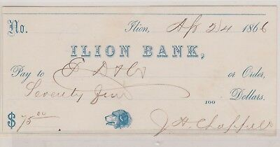 (N11-2) 1866 USA bank cheque for $75.00 Lion bank (2B)