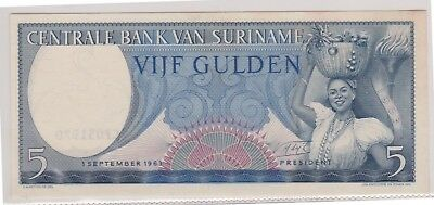 (N1-43) 1963 Suriname 5 gulden bank note (43AR)