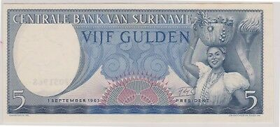 (N1-42) 1963 Suriname 5 GULDEN bank note (42AQ)