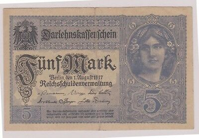 (N11-16) 1917 Germany 5 marks bank note (16P)