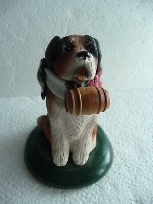 BYERS CHOICE Carolers St. Bernard Dog with scarf and whisky barrel 1994