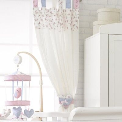 A pair of Nursery Bedroom Vintage Love & Kisses Tab Top Curtains with Tiebacks'.