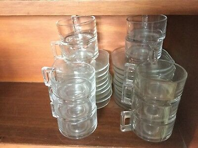 30 pieces Joe Colombo glass cups & saucers, mid century chic