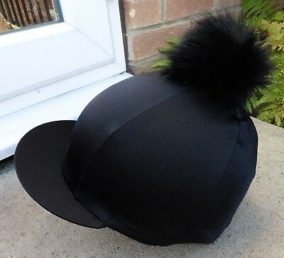 Riding Hat Silk skull cap cover BLACK  Extra Large Faux Fur Pompom