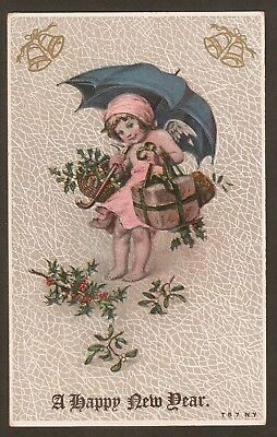 Collectible Antique Vintage Christmas New Year Postcard:Barefoot Umbrella Angel