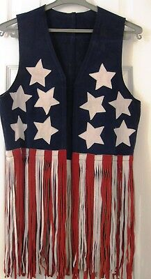 suede fringe vest, vintage, leather, stars and stripes