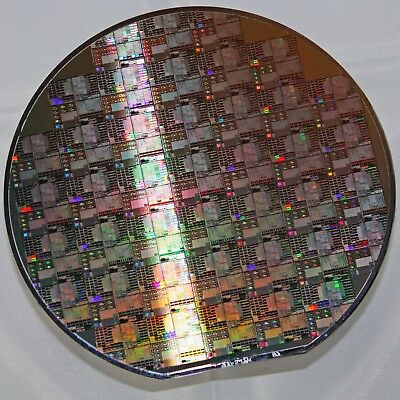 """6"""" Silicon Wafer from Dallas Semiconductor with large test patterns and mosfet"""