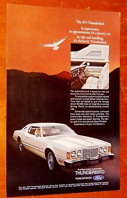 White 1973 Ford Thunderbird With White Interior Ad - Vintage American 70S T-Bird