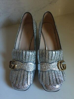 Gucci Authentic Argento Silver Cracked Leather Marmont Pumps 38