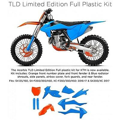 Acerbis FULL Plastikkit KTM SX SXF 125 450 Bj. 2016-2018 TLD Edition blau-orange