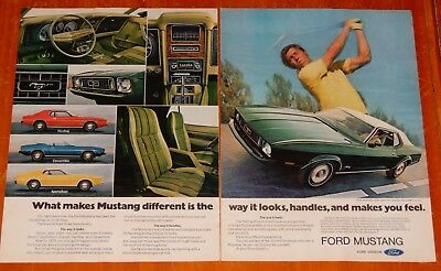 1973 Ford Mustang In Green With Golfer Vintage Ad - American Classic Retro 70S