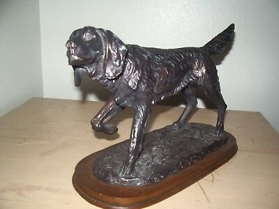 Cast Metal Irish Setter Statue on base.