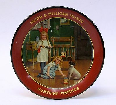 c. 1910 HEATH & MILLIGAN PAINTS SUNSHINE FINISHES advertising tin litho tip tray