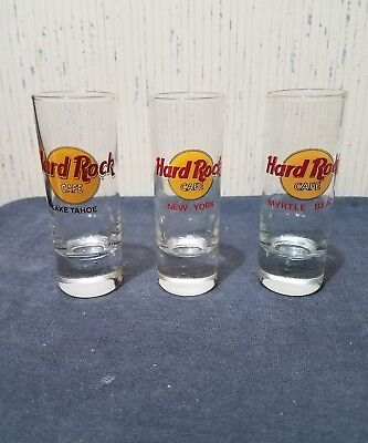Lot of 3 Hard Rock Cafe Shot Glasses * New York * Myrtle Beach * Lake Tahoe *