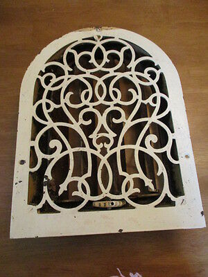 Antique CAST IRON Wall Mount ARCH TOP Heat Heating Vent with Louvers