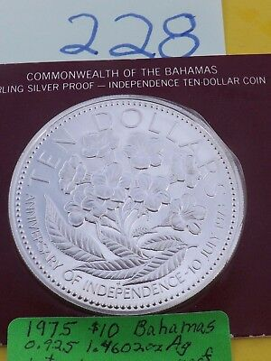 1975 $10 silver, Bahamas  giant huge beautiful silver coin