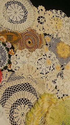 Beautiful Large Lot of Hand Made Vintage Crochet Doilies