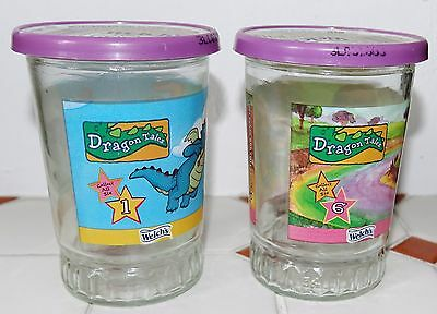 Set of 2 Welch's Jelly Jars/Glasses With Lids #1 & #6 of Dragon Tales (TV Show)