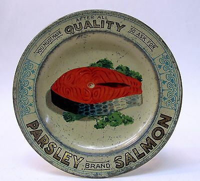 circa 1910 PARSLEY BRAND SALMON advertising  tin litho tip tray