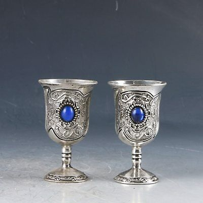 A Pair Chinese Silver Handwork Carved Exquisite Cups PJ419