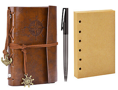 Leather Writing Sketch Drawing Paper Notebook Vintage Nautical Spiral Journal